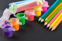 Colored pencils and gouache Stock Photos