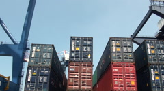 Containers stacked in the container terminal. Stock Footage