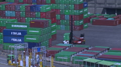 A reach stacker is carrying a container in the container terminal. Stock Footage
