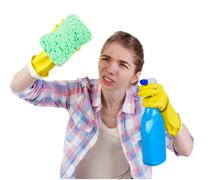Housewife in gloves with sponge and detergent Stock Photos