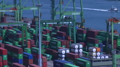 Container terminal at the Port of Kaohsiung, Taiwan. Stock Footage