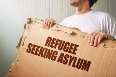 Refugee seeking asylum in foreign country Stock Photos