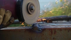 Close-up of machine for angle grinding Stock Footage