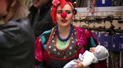 SuperMarket, woman in the clown costume  Stock Footage