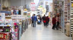 SuperMarket, people go shopping Stock Footage