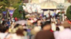 Unfocused shot of walking people in the fair Stock Footage