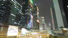 HongKong landmark and city traffic at night Stock Footage