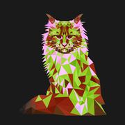 Low poly cat. Triangle polygonal stile siamese kitten. Flat design creative Piirros