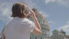 A Woman at the Place of Miracles in Pisa in Italy Stock Footage
