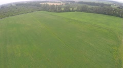 Farmland from above - aerial image of a lush green filed Stock Footage
