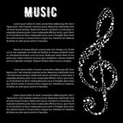 Music arts banner with treble clef and notes Stock Illustration