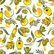 Olive fruits and oil bottles seamless pattern Stock Illustration