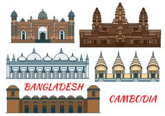 Temples, mosques of Cambodia and Bangladesh icon Stock Illustration