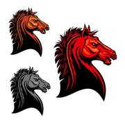Fiery red wild mustang horse tribal mascot design Stock Illustration