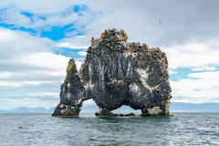 Hvitserkur, a rock formation in the sea Stock Photos