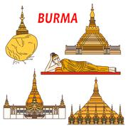 Ancient buddhistic temples of Burma colorful icon Stock Illustration