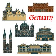 Travel guide thin line icon of german attractions Stock Illustration