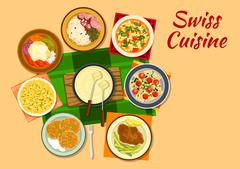 Swiss cuisine traditional dishes flat icon Stock Illustration