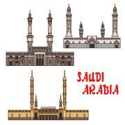 Travel landmarks of Saudi Arabia icon with mosques Stock Illustration