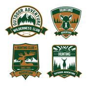 Hunting club emblem icons Stock Illustration