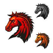 Horse stallion head emblem icons Stock Illustration