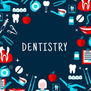 Dentistry vector banner with icons and symbols Stock Illustration