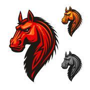 Horse stallion head and mane vector icon Stock Illustration