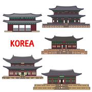 Historic temples and architecture of Korea Stock Illustration
