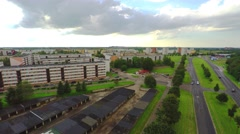 Small European town. Aerial footage. Summer landscape. Stock Footage