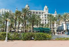 Alicante, Spain - SEPTEMBER 2015: Square 'Plaza Puerta del Mar Stock Photos