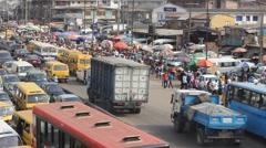Heavy traffic, Lagos, Nigeria Stock Footage