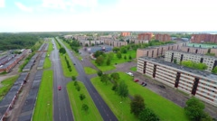 European town. Aerial footage. Summer landscape with beautiful clouds. Stock Footage