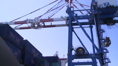 A gantry crane is moving in Container Terminal. Kaohsiung Port in Taiwan Stock Footage