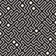 Vector Seamless Black and White Maze Lines Pattern Stock Illustration