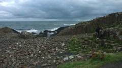 4k Shot of Tourists on Giant's Causeway, Northern Ireland Stock Footage