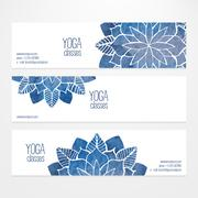Vector banner templates with watercolor abstract flowers Stock Illustration