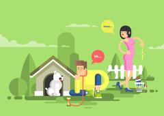 illustration of sad man sits beside a dog at the doghouse - stock illustration