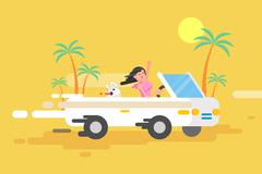 Illustration happy brunette girl drives a white convertible Stock Illustration