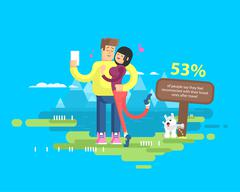 Illustration of happy married couple on vacation, man and woman make selfie Stock Illustration