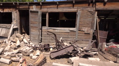 POV old rural farm building sheds 4K Stock Footage
