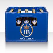 Crate of traditional classic German beer Bavarian brewery HB Munich Stock Photos
