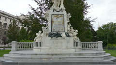 The statue of Mozart in Burggarten park in Vienna Stock Footage