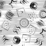 Seamless geometric grange hand drawn paint brash pattern in vector. Triangle Stock Illustration