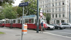 A tram stop on the Ring in Vienna Stock Footage