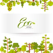 Illustration of green trees and bushes top  bottom on a white background in Stock Illustration