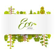 Illustration of banner or strip  paper with lettering, green trees and bushes on Stock Illustration