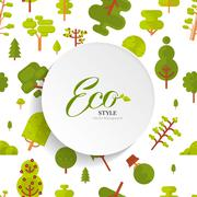 illustration seamless pattern with lettering, green trees and bush on white - stock illustration