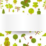 illustration seamless pattern with green trees and bushes on a white background - stock illustration