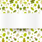 Illustration seamless pattern with green trees and bushes on a white background Stock Illustration