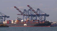 Gantry cranes are unloading a container ship at the Port of Kaohsiung Stock Footage